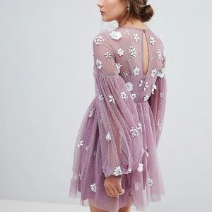 NEW ASOS Balloon sleeve floral cluster dress 8